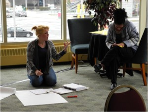 Sarah Clift and Heather Hannifan, a co-facilitation team, preparing to deliver a learning activity